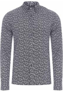Camisa Masculina Manga Longa Estampada - Preto