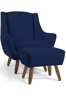 Poltrona Decorativa Com Puff Pés Manu Madeira Juliet B-304 Veludo Azul