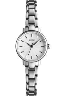 Relógio Skmei Analógico 1410 - Prata E Branco