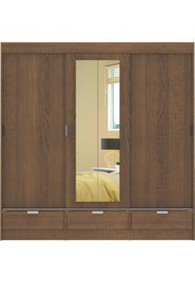 Guarda-Roupa Sevilha 3 Portas 1 Espelho Borda Rustic Madesa