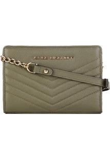 Bolsa Couro Jorge Bischoff Mini Bag Matelassê Feminina - Feminino-Verde Militar