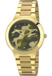 Relógio Euro Feminino Analogico Militar - Unissex-Dourado
