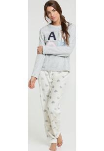 Pijama Feminino Pelúcia Estampa Coração Marisa