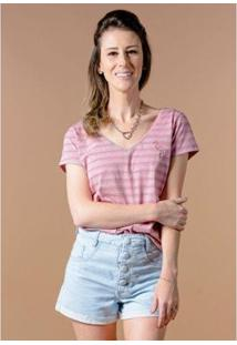 Camiseta Cia Gota Manga Curta Listrada Flamingo Feminina - Feminino-Rosa
