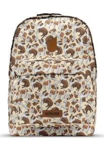 Mochila Usthemp Temática Vegano Casual Estampa Border Collie Off-White