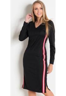 Vestido Preto Com Faixa Lateral Moda Evangélica
