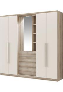 Guarda-Roupa Zeus Com Espelho - 2 Portas - Anís Com Camurça