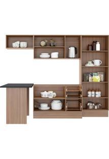 Cozinha Compacta Multimóveis Calábria 5454R.680.131.680 Nogueira Branco Se