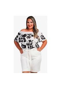 Blusa Renda Ombro A Ombro Plus Size Floral Alfazema
