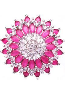 Anel Boca Santa Semijoias Flor De Lótus Rubi Ouro Branco Rosa