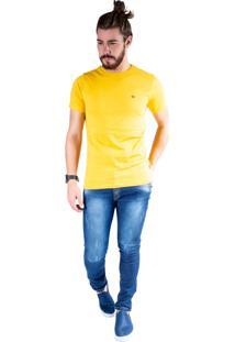 Camiseta Mister Fish Gola Careca Basic Plus Size Mostarda