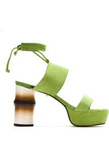 A.Brand Sandalia Salto Bamboo Em Suede - Verde