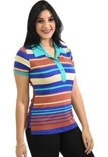 Camisa Pólo Elastano Seda feminina  c07023d8f8811