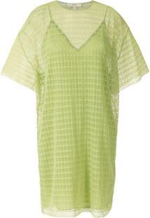 Nk Vestido Reto Em Renda - Verde