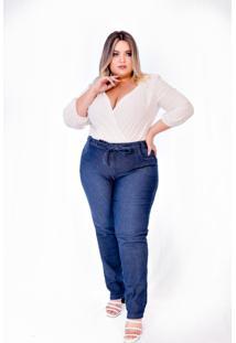 Calça Jeans Feminina Plus Size Skinny Cintura Alta