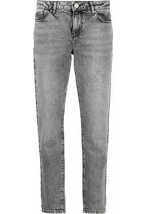 Karl Lagerfeld Calça Jeans Reta Essential Cintura Média - Cinza