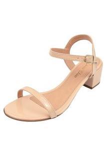 Sandália Salto Grosso Bloco Rosa Chic Calçados Sandália Clássica Confortável Dia A Dia Nude