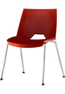 Cadeira Strike Assento Vermelho Base Cromada - 54065 Sun House