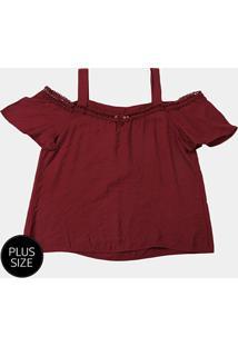 Blusa Fiya Lady Bata Renda Plus Size Feminina - Feminino-Bordô