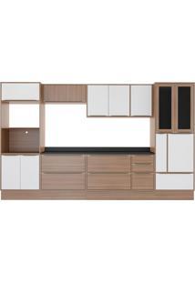 Cozinha Compacta Calábria 14 Portas Nogueira E Branco Multimoveis