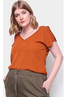 Blusa Plus Size Eagle Rock Feminina - Feminino-Marrom Claro