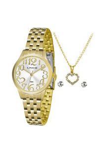 Kit Relógio Feminino Lince Analógico Lrgh071L Ku38S2Kx + Brinco + Colar Dourado