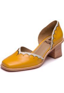 Sapato Mzq Salto Grosso Amarelo - Amarelo / Off White - 9300 - Kanui