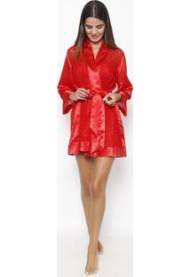 Robe Em Laise Com Transparência- Vermelhofruit De La Passion