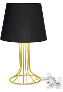 Abajur Torre Dome Preto Com Aramado Amarelo - Preto - Dafiti