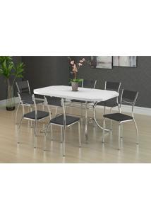 Mesa 1507 Branca Cromada Com 6 Cadeiras 1701 Preta Carraro