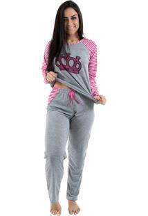 Pijama Linha Noite Longo Mescla Com Pink - Tricae