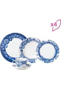 Aparelho De Jantar Santorini Floral- Branco & Azul Escurrojemac
