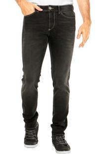 Calça Jeans Benetton Skinny Estonada Preta