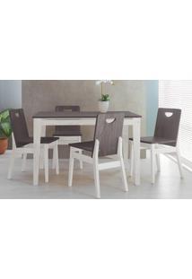 Conjunto De Jantar Com Mesa E 4 Cadeiras Tucupi 120Cm - Acabamento Stain Branco E Grafite