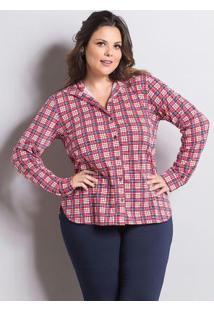 ... Camisa Manga Longa Xadrez Marguerite Plus Size 534e7dc411a
