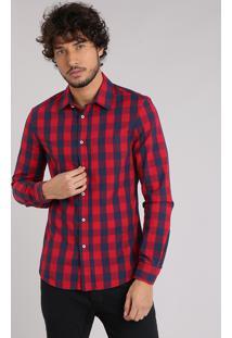 Camisa Masculina Slim Xadrez Manga Longa Vermelha