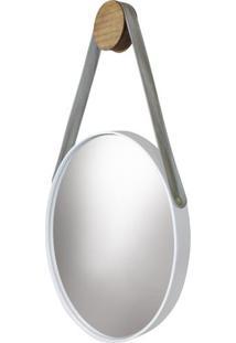 Espelho Button Moldura Cor Branca Com Alca Bege - 48649 - Sun House