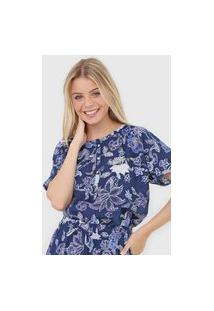 Blusa Gap Floral Azul-Marinho