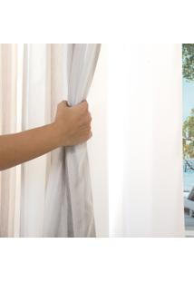 Cortina Para Varão Bella Janela 200X180 Cm Duplex Blend Listrado Marfim