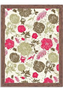 Quadro Decorativo Floral Rosa Madeira - Grande