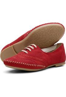 Sapato Oxford Casual Em Couro Yes Basic 15360 Vermelho