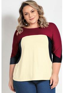 Blusa Plus Size Preta Off White E Bordô