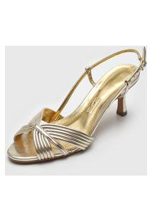 Sandália Santa Lolla Tiras Metalizadas Dourada