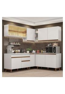 Cozinha Completa De Canto Madesa Reims 382001 Com Armário E Balcáo - Branco Branco