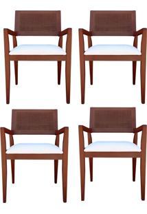 Kit 4 Cadeiras Decorativas Sala De Jantar Megan Imbuia Linho Bege - Gran Belo