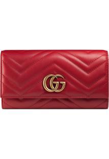 Gucci Carteira Continental 'Gg Marmont' - Vermelho