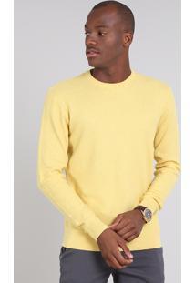 Suéter Masculino Em Tricô Amarelo