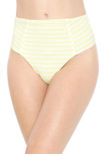 Calcinha Alto Giro Tanga Listrada Texturizada Branca/Amarela