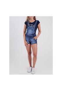 Macacão Jardineira Jeans Feminino Azul