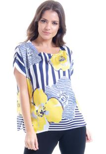 Blusa 101 Resort Wear Gola Punho Flor Quebec Azul
